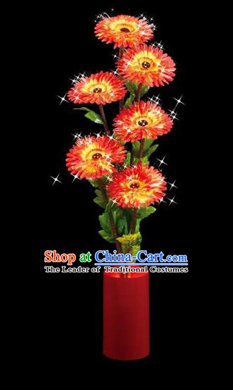 Traditional Handmade Chinese Red Chrysanthemum Lanterns Electric LED Lights Lamps Desk Lamp Decoration