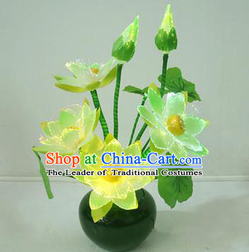 Traditional Handmade Chinese Green Lotus Lanterns Electric LED Lights Lamps Desk Lamp Decoration