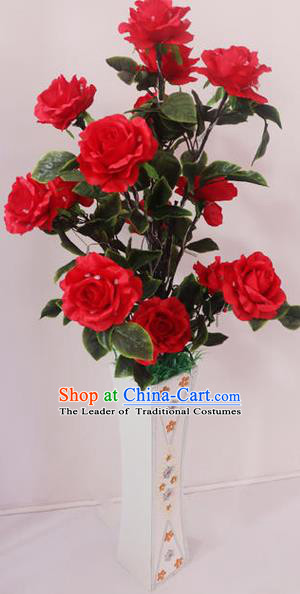 Traditional Handmade Chinese Red Rose Flowers Lanterns Electric LED Lights Lamps Desk Lamp Decoration