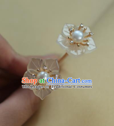 Traditional Chinese Ancient Handmade Classical Hair Accessories Shell Flowers Hairpins for Women