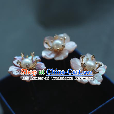 Traditional Chinese Ancient Handmade Classical Hair Accessories Pink Shell Flowers Hairpins for Women