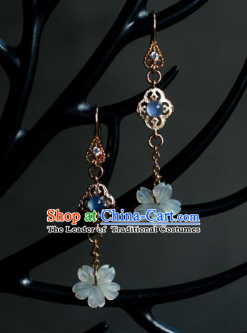 Traditional Chinese Ancient Handmade Earrings Accessories Hanfu Flowers Eardrop for Women