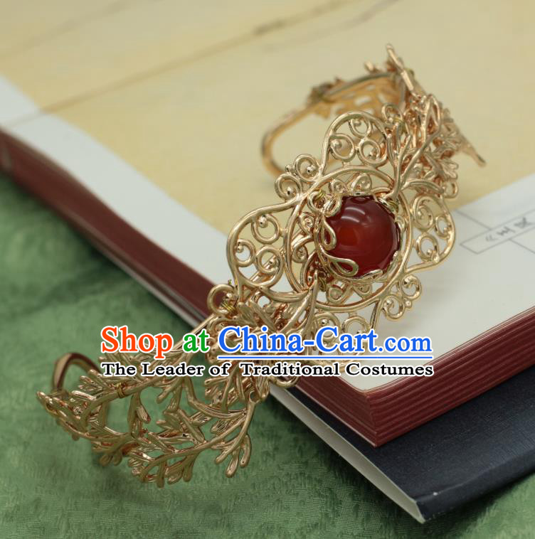 Traditional Chinese Ancient Handmade Golden Hairdo Crown Classical Hair Accessories Tassel Hairpins for Women