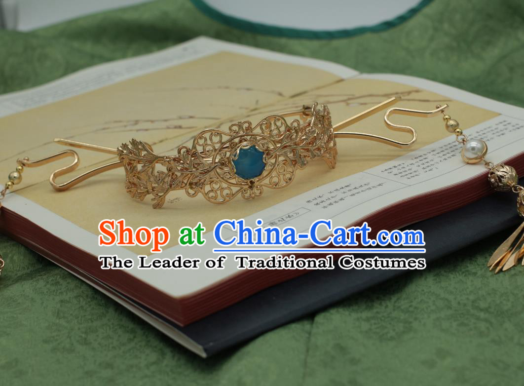 Traditional Chinese Ancient Hairdo Crown Classical Hair Accessories Handmade Tassel Hairpins for Women