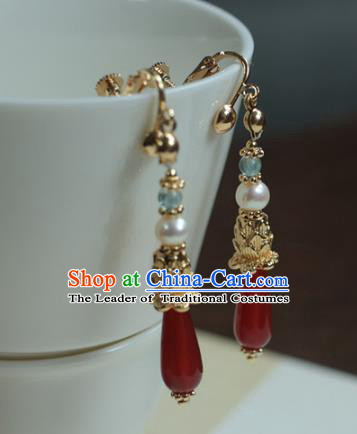 Traditional Chinese Ancient Handmade Agate Earrings Hanfu Eardrop for Women
