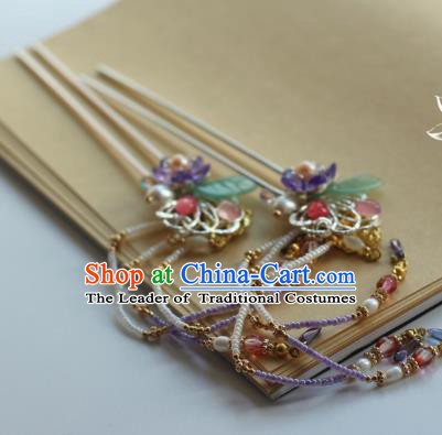 Traditional Chinese Ancient Tassel Hair Clips Hair Accessories Handmade Hanfu Hairpins for Women