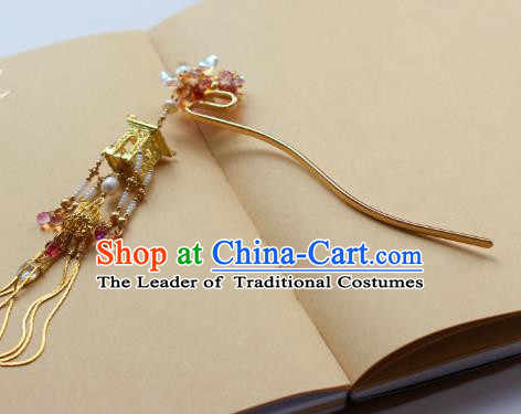 Traditional Chinese Ancient Golden Tassel Hair Clips Hair Accessories Handmade Hanfu Hairpins for Women