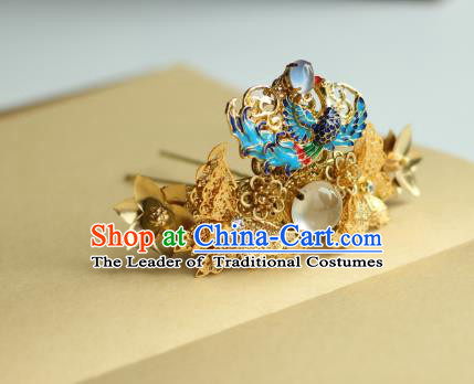 Traditional Chinese Ancient Blueing Hair Clips Hair Accessories Handmade Hanfu Hairpins for Women