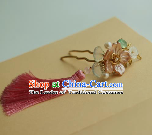Traditional Chinese Ancient Pink Shell Flower Hair Clips Hair Accessories Handmade Hanfu Hairpins for Women