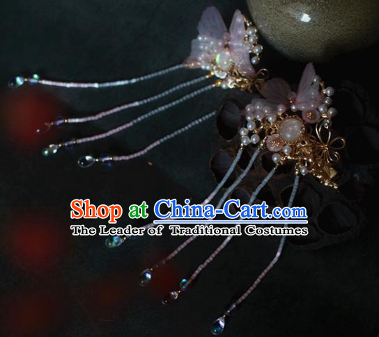 Traditional Chinese Ancient Butterfly Hair Clips Hair Accessories Handmade Hanfu Hairpins for Women