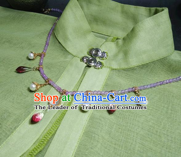 Traditional Chinese Ancient Handmade Necklace Hanfu Purple Beads Necklets for Women