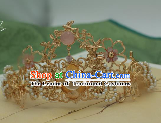Traditional Chinese Ancient Hair Crown Hair Accessories Handmade Hanfu Hairpins for Women