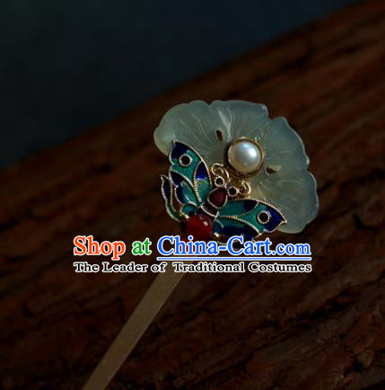 Traditional Chinese Ancient Blueing Butterfly Hair Clips Hair Accessories Handmade Hanfu Hairpins for Women