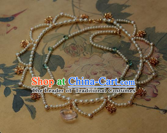 Traditional Chinese Ancient Handmade Necklace Hanfu Pearls Necklets for Women