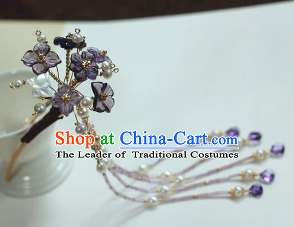 Traditional Chinese Ancient Hair Accessories Handmade Purple Flowers Hair Clip Hanfu Hairpins for Women