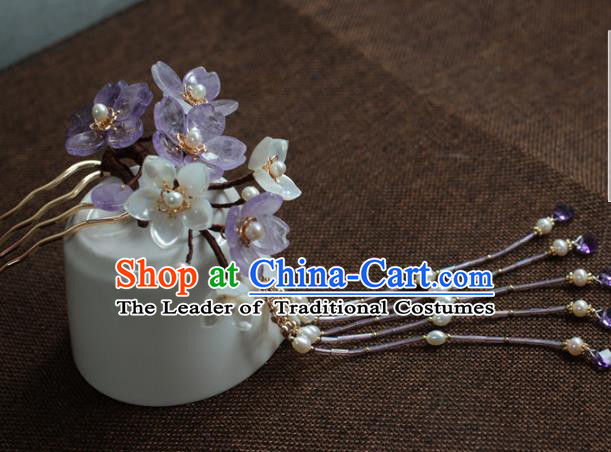 Traditional Chinese Ancient Hair Accessories Handmade Purple Flowers Tassel Hair Clip Hanfu Hairpins for Women