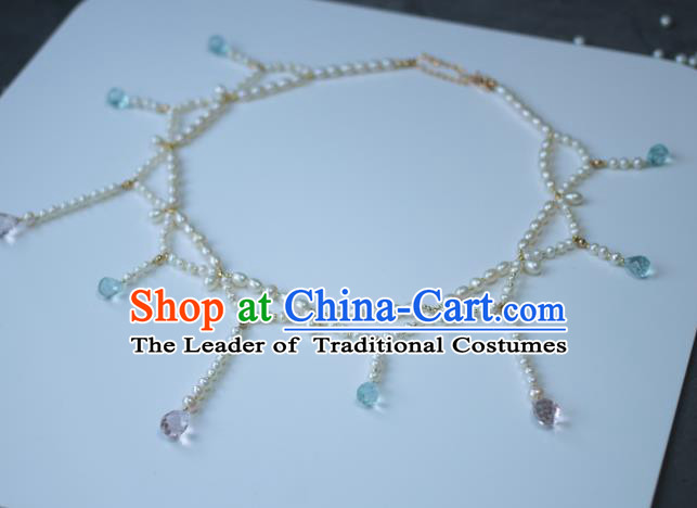 Traditional Chinese Ancient Handmade Pearls Necklace Hanfu Tassel Necklets for Women