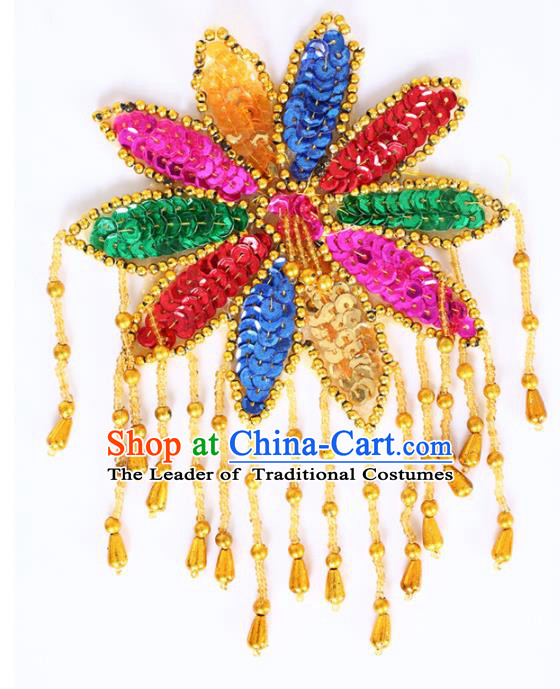 Chinese Traditional Folk Dance Hair Accessories Yangko Colorful Sequins Headwear for Women