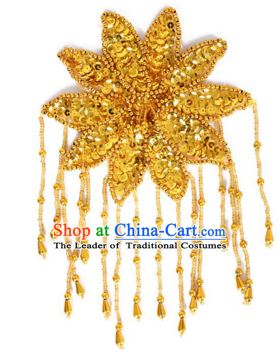 Chinese Traditional Folk Dance Hair Accessories Yangko Golden Sequins Headwear for Women