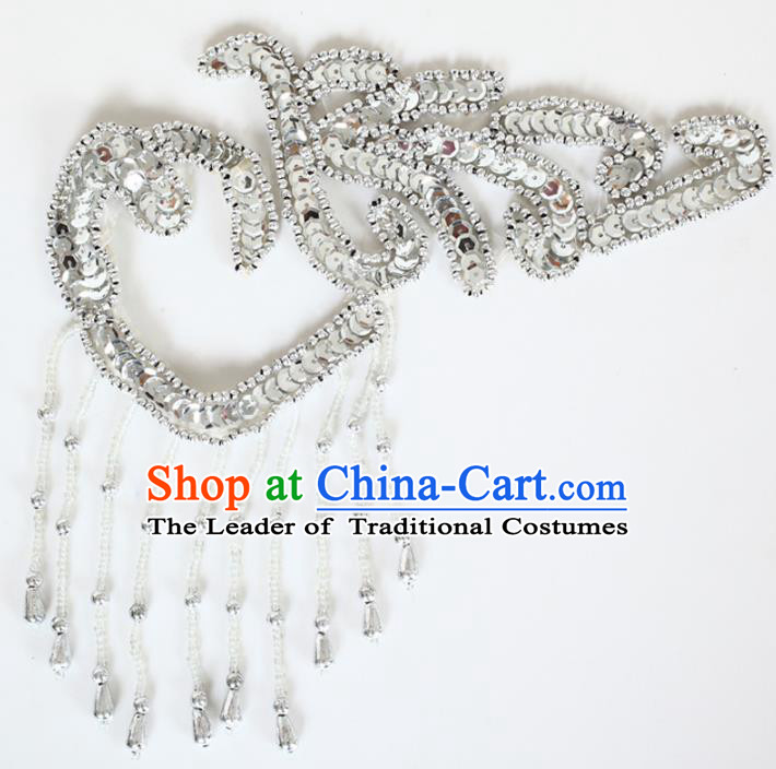 Chinese Traditional Folk Dance Hair Accessories Yangko Dance Argentate Sequins Headwear for Women