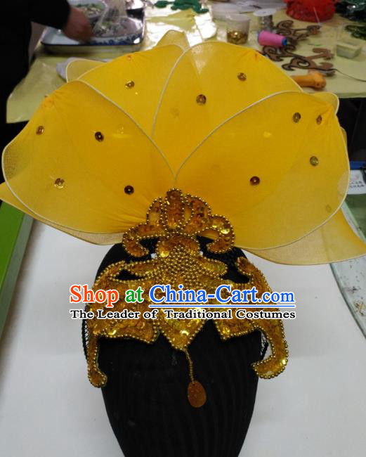 Chinese Traditional Folk Dance Hair Accessories Classical Yangko Dance Yellow Leaf Headwear for Women