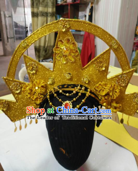 Chinese Traditional Classical Dance Hair Accessories Samba Dance Golden Hat Headwear for Women