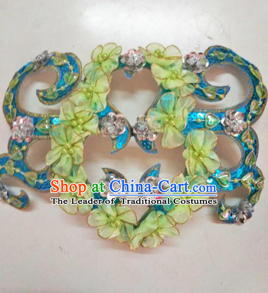 Chinese Traditional Classical Dance Hair Accessories Folk Dance Yangko Green Flowers Headwear for Women