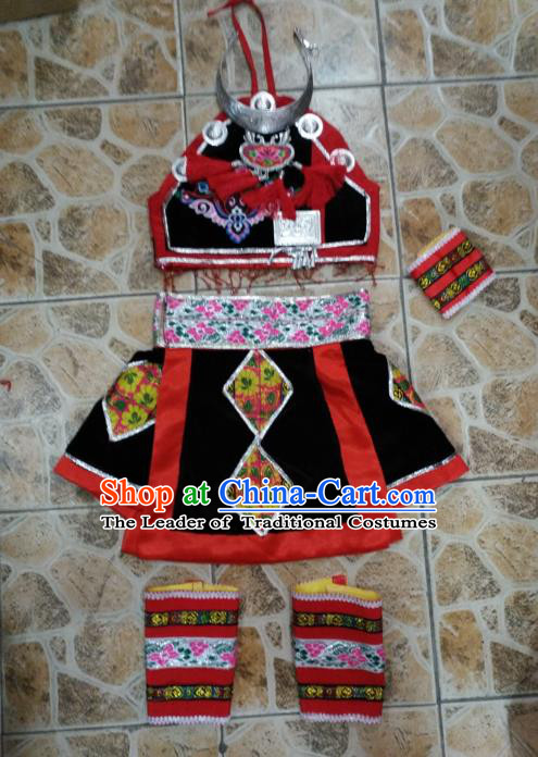 Traditional Chinese Classical Dance Fan Dance Costume, Folk Dance Yangko Uniform for Women