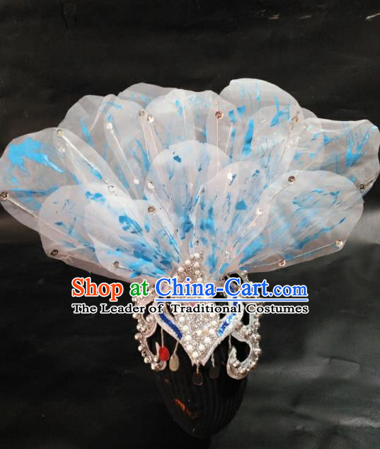Chinese Traditional Classical Dance Hair Accessories Folk Dance Yangko Blue Flowers Headwear for Women
