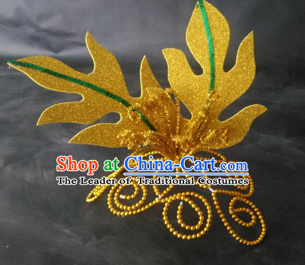 Chinese Classical Dance Hair Accessories Traditional Yangko Dance Golden Leaf Headwear for Women