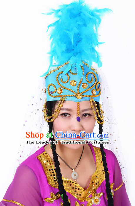 Chinese Traditional Classical Dance Hair Accessories Uyghur Nationality Blue Feather Headwear for Women