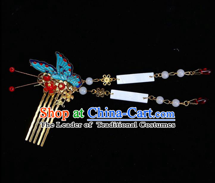 Chinese Ancient Hair Accessories Butterfly Hair Comb Traditional Tassel Hairpins Headwear for Women