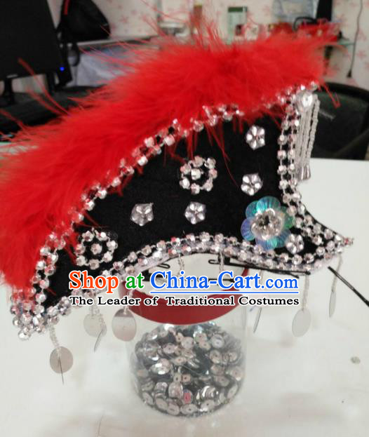 Chinese Traditional Folk Dance Hair Accessories Yi Nationality Dance Headwear Cockscomb Hats for Women