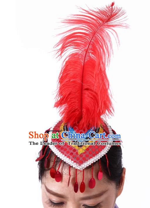 Chinese Traditional Folk Dance Hair Accessories Yangko Red Feather Hats Headwear for Women