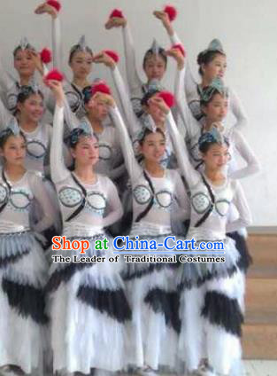 Traditional Chinese Classical Dance Costume, Folk Dance Yanko Swan Goose Dance Dress for Women
