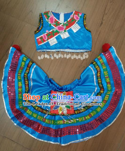 Traditional Chinese Miao Nationality Dance Costume, Folk Dance Yanko Dance Dress for Kids