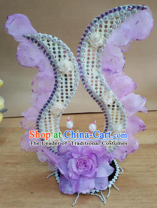 Chinese Classical Dance Hair Accessories Traditional Folk Dance Purple Flowers Headwear for Women