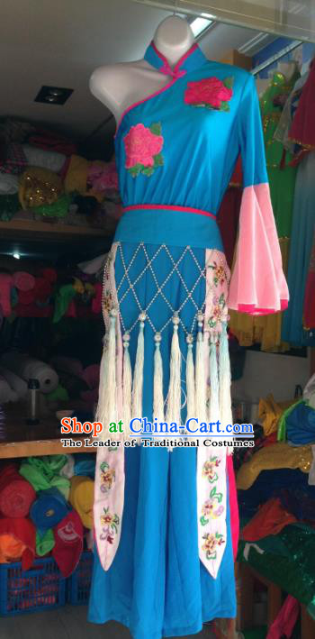 Traditional Chinese Classical Dance Dress Fan Dance Costume, Folk Dance Yangko Blue Uniform for Women
