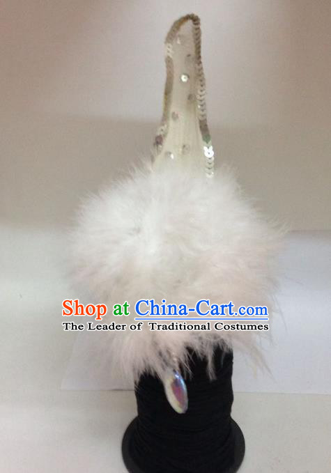 Chinese Classical Dance Hair Accessories Traditional Folk Dance Feather Headwear for Women