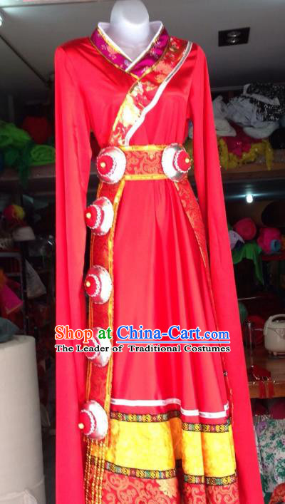 Traditional Chinese Zang Nationality Dance Costume, Folk Dance Tibetan Minority Red Dress for Women