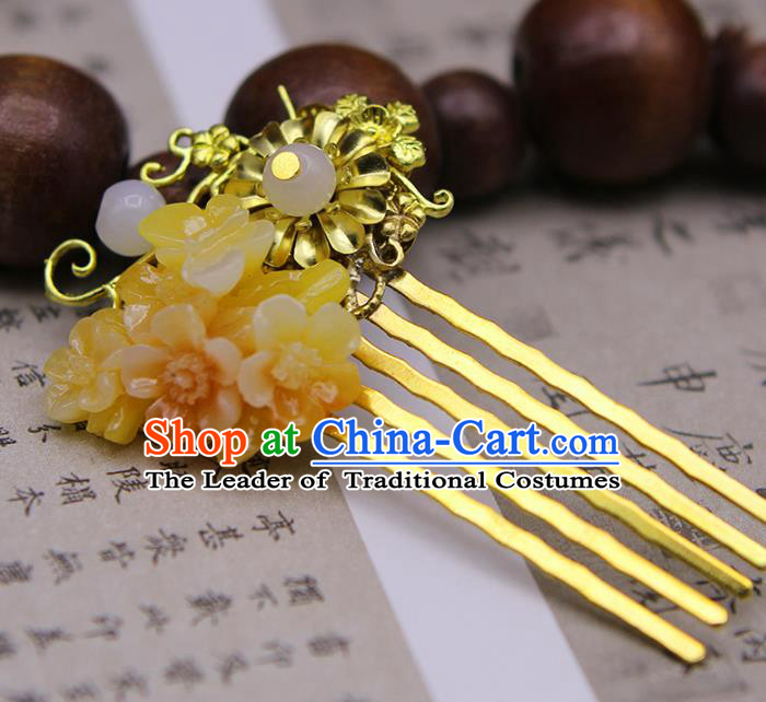 Chinese Ancient Hair Accessories Hanfu Hairpins Traditional Palace Golden Hair Comb Headwear for Women