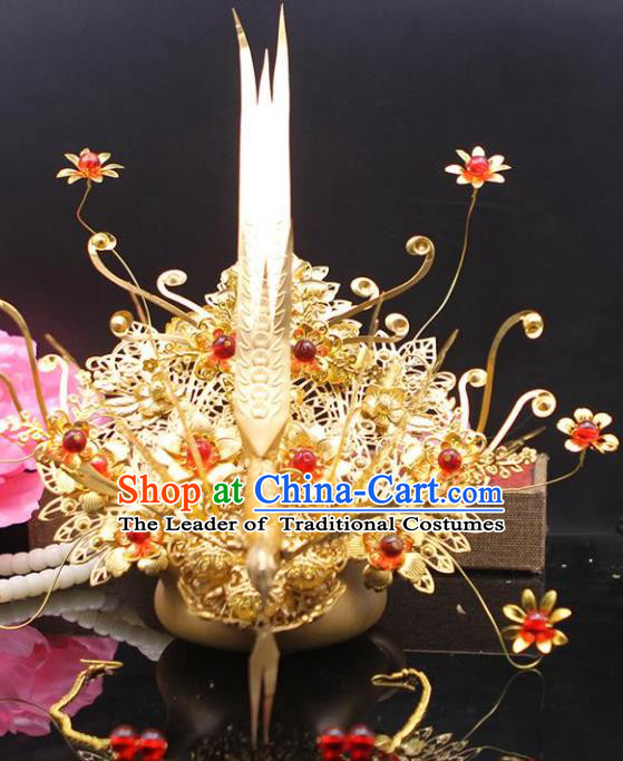 Chinese Ancient Hair Accessories Hanfu Hairpins Phoenix Coronet Traditional Queen Headwear for Women