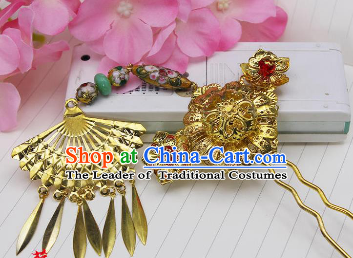 Chinese Ancient Hair Accessories Hanfu Hairpins Golden Hair Clip Traditional Palace Headwear for Women