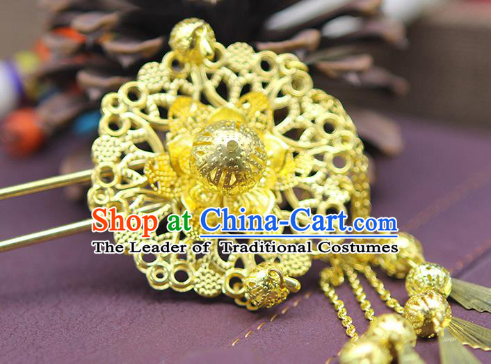 Chinese Ancient Hair Accessories Hanfu Golden Hairpins Hair Clip Traditional Palace Headwear for Women