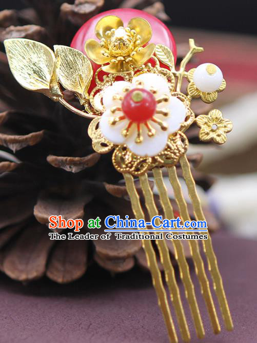 Chinese Ancient Hair Accessories Hanfu Golden Hair Comb Hairpins Traditional Palace Headwear for Women