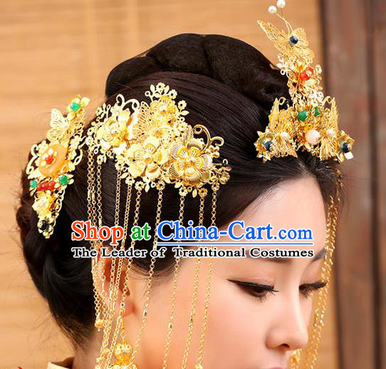 Chinese Ancient Hair Accessories Hanfu Golden Xiuhe Suit Hairpins Complete Set Traditional Palace Headwear for Women