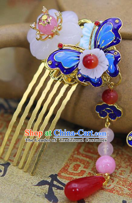 Chinese Ancient Hair Accessories Hanfu Hairpins Blueing Butterfly Hair Comb Traditional Palace Headwear for Women