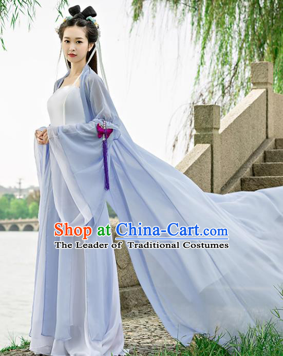 Traditional Chinese Ancient Swordswoman Costume, China Tang Dynasty Princess Hanfu Dress for Women