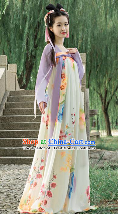 Traditional Chinese Ancient Palace Lady Costume, China Tang Dynasty Court Maid Hanfu Dress for Women