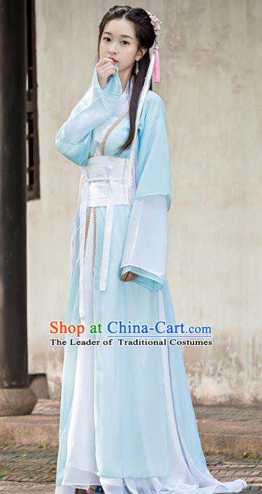Traditional Chinese Ancient Swordswoman Costume Tang Dynasty Princess Hanfu Dress for Women